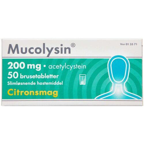 Køb MUCOLYSIN BRUSETABL 200 MG online hos apotekeren.dk