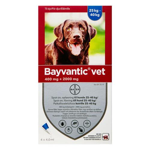 Køb Bayvantic Vet hunde 25-40 kg 4 x 4,0 ml online hos apotekeren.dk