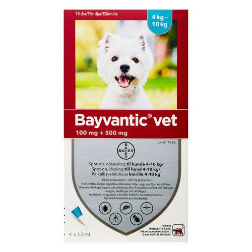 Køb Bayvantic Vet hunde 4-10 kg 4 x 1,0 ml online hos apotekeren.dk
