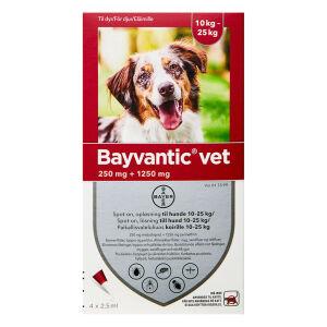 Køb Bayvantic Vet til hunde 10-25 kg 4 x 2,5 ml online hos apotekeren.dk