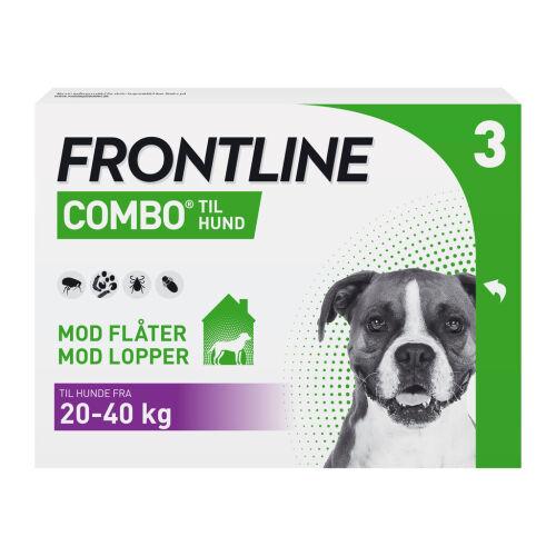 Køb Frontline Combo Vet til hunde 20-40 kg 3 x 2,68 ml online hos apotekeren.dk
