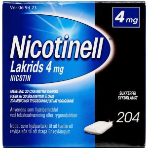 Køb NICOTINELL LAKRIDS TYGGEG 4MG online hos apotekeren.dk