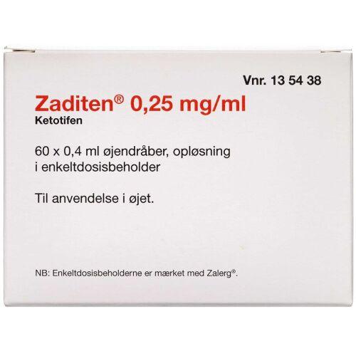 Køb ZADITEN ØJENDR OPL 0,25 MG/ML online hos apotekeren.dk