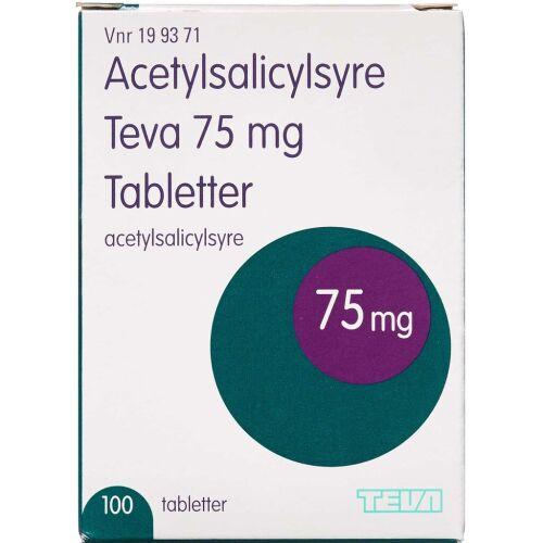 Køb ACETYLSALICYLSYRE TB 75MG(TEV online hos apotekeren.dk