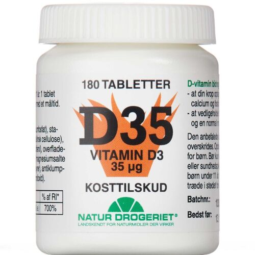 Køb D3 Vitamin 35 mikg 180 stk. online hos apotekeren.dk