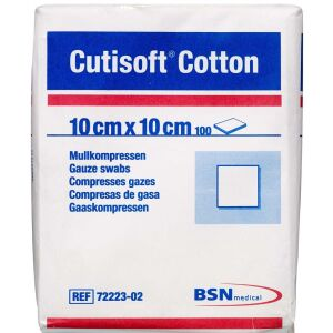 Køb Cutisoft Cotton Kompres 10 x 10 cm 100 stk. online hos apotekeren.dk