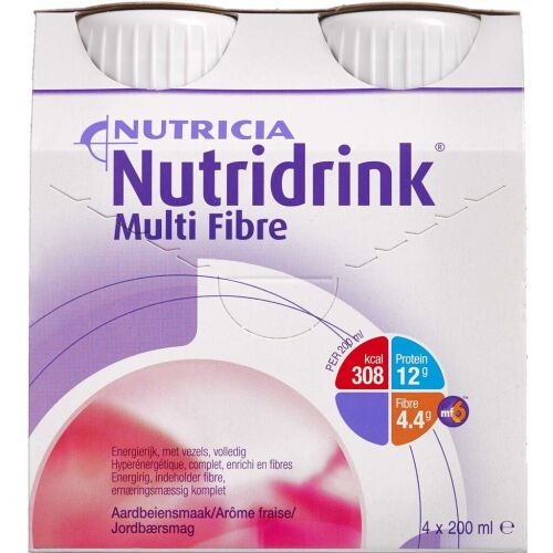 Køb Nutridrink Multi Fibre jordbær 4 x 200 ml online hos apotekeren.dk