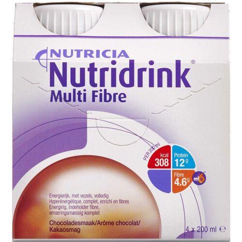 Køb Nutridrink Multi Fibre Chokolade 4 x 200 ml online hos apotekeren.dk