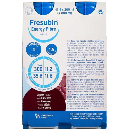 Køb Fresubin Energy Fibre Drink Kirsebær 4 x 200 ml online hos apotekeren.dk