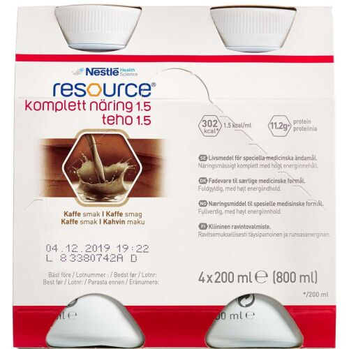 Køb Resource Komplett Næring 1.5 Kaffe 4 x 200 ml online hos apotekeren.dk
