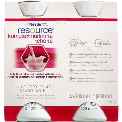 Køb Resource Komplett Næring 1.5 Hindbær/jordbær 4 x 200 ml online hos apotekeren.dk