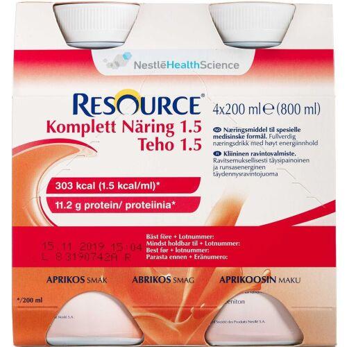 Køb Resource Komplett Næring 1.5 Abrikos 4 x 200 ml online hos apotekeren.dk