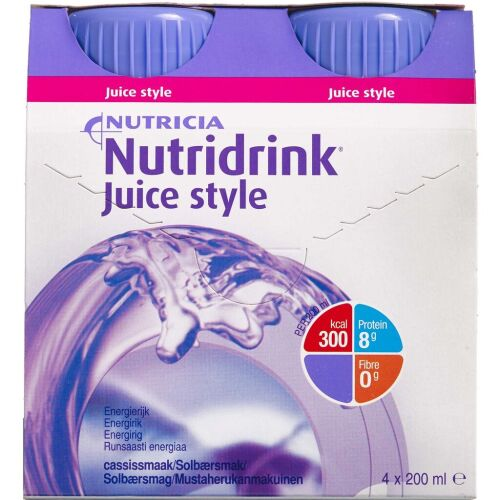 Køb Nutridrink Juice Style Solbær 4 x 200 ml online hos apotekeren.dk