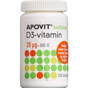 Køb Apovit D3-vitamin 20 mikg 200 stk. online hos apotekeren.dk