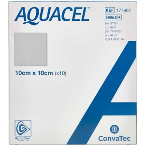 Køb Aquacel Hydrofiber sårbandage 10 x 10 cm 10 stk. online hos apotekeren.dk
