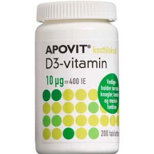 Køb Apovit D3-vitamin 10 mikg 200 stk. online hos apotekeren.dk