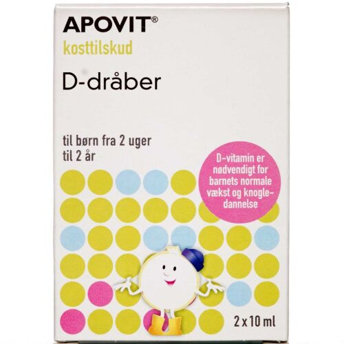 Køb Apovit D-vitamin dråber 2 x 10 ml online hos apotekeren.dk