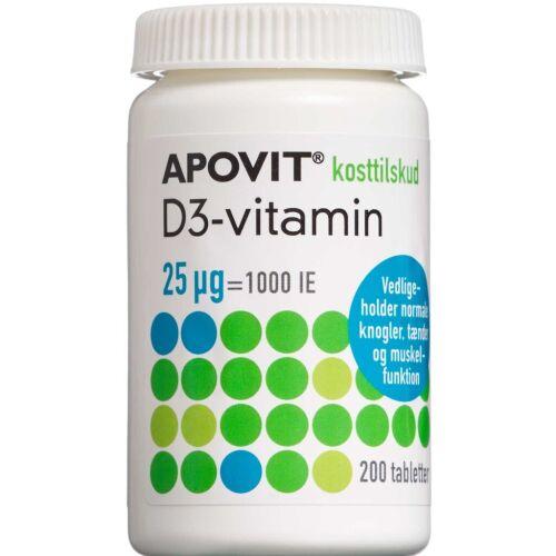 Køb Apovit D3-vitamin 25 mikg 200 stk. online hos apotekeren.dk