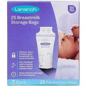 Køb Lansinoh frysepose til brystmælk 25 stk. online hos apotekeren.dk