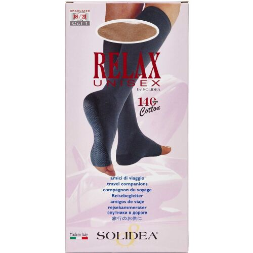 Køb Solidea knæ Relax unisex 140 åben tå natur - x-large 1 stk. online hos apotekeren.dk