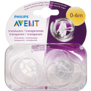 Køb Philips Avent Sut Transparent 0-6m ass. 2 stk. online hos apotekeren.dk