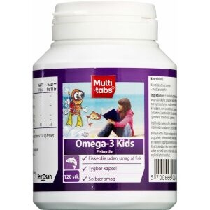 Køb Multi-tabs Omega-3 Kids solbærsmag 120 stk.  online hos apotekeren.dk
