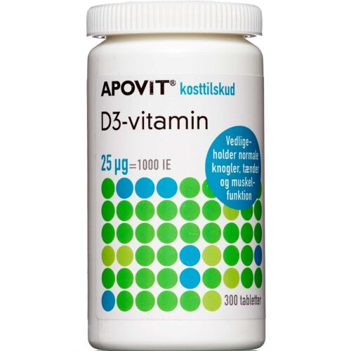 Køb Apovit D-3- vitamin 25 mikg 300 stk. online hos apotekeren.dk