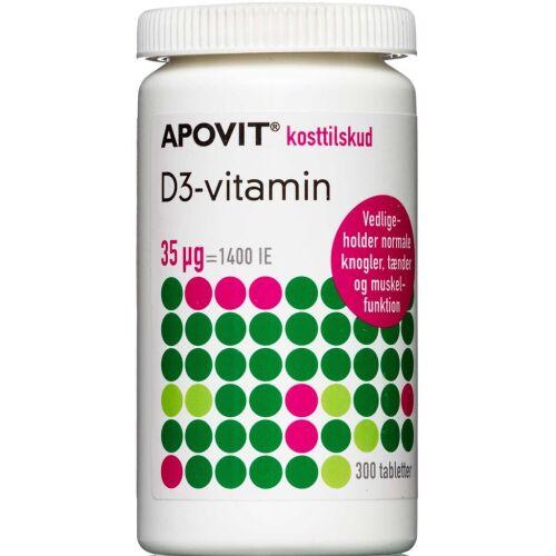 Køb Apovit D3-vitamin 35 mikg. tabletter 300 stk. online hos apotekeren.dk