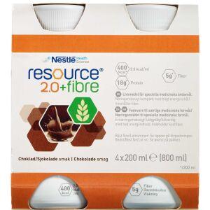 Køb Resource 2.0+ fibre Chokolade 4 x 200 ml online hos apotekeren.dk