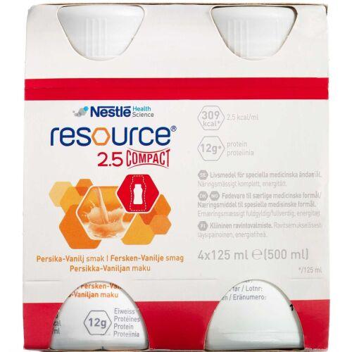 Køb Resource 2,5 Compact Fersken/Vanille 4 x 125 ml online hos apotekeren.dk
