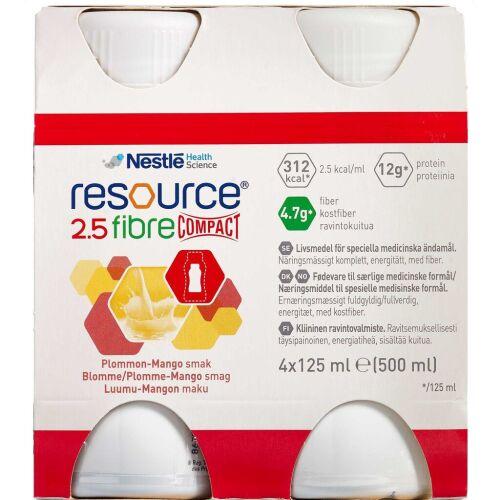 Køb Resource 2,5 Fibre Compact Blomme/mango 4 x 125 ml online hos apotekeren.dk