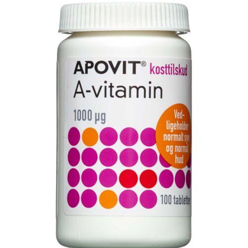 Køb Apovit A-vitamin 1000mikg 100 stk. online hos apotekeren.dk