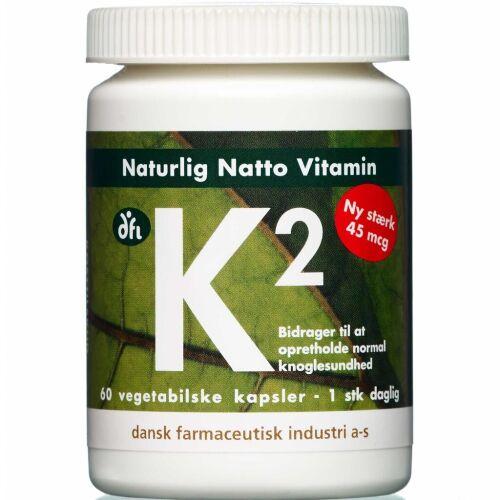 Køb K2 Vitamin Kapsler 45 mcg 60 stk. online hos apotekeren.dk