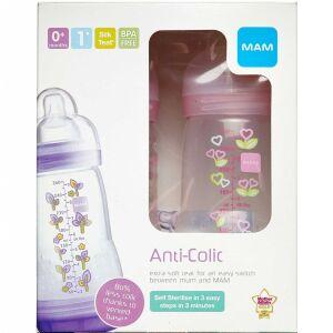 Køb MAM Anti-Colic Sutteflaske assorterede farver 2 stk á 260 ml online hos apotekeren.dk