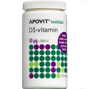 Køb Apovit D3-vitamin 50 mikg. 200 stk. online hos apotekeren.dk
