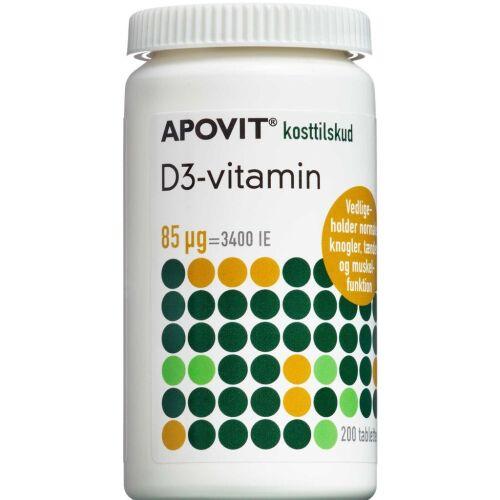 Køb Apovit D3-vitamin tabletter 85 mikg 200 stk. online hos apotekeren.dk