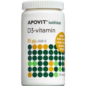 Køb Apovit D3-vitamin 85 mikg 200 stk. online hos apotekeren.dk