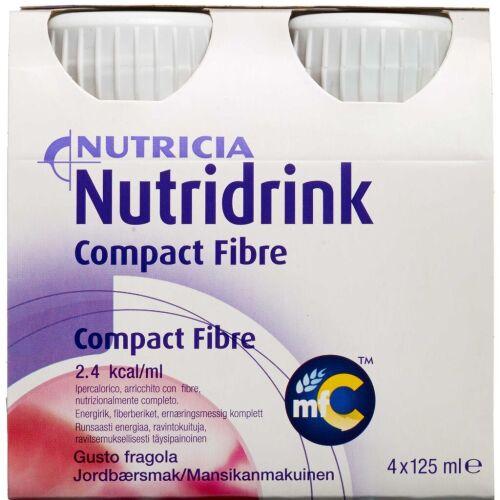 Køb Nutridrink Compact Fibre Jordbær 4 x 125 ml online hos apotekeren.dk