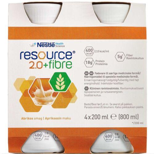 Køb Resource 2.0+ fibre Abrikos 4 x 200 ml online hos apotekeren.dk