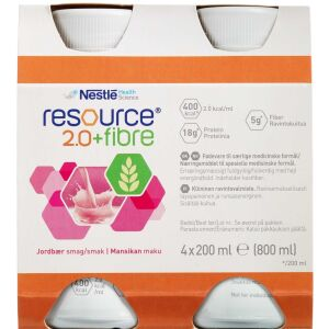 Køb Resource 2.0+ fibre Jordbær 4 x 200 ml online hos apotekeren.dk