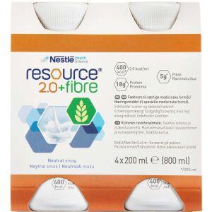 Køb Resource 2.0+ fibre mild vanilie/neutral 4 x 200 ml online hos apotekeren.dk