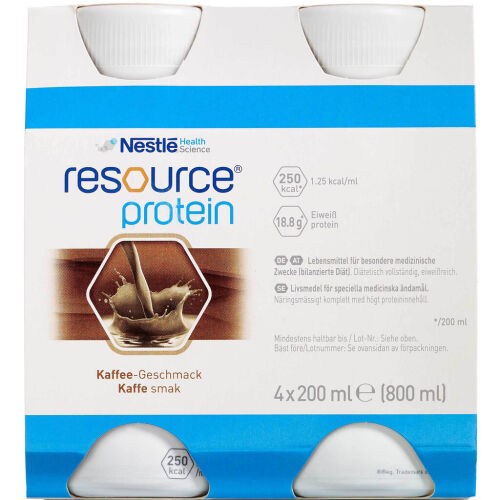 Køb Resource Protein Ernæringsdrik Kaffe 4 x 200 ml online hos apotekeren.dk
