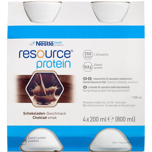 Køb Resource Protein Ernæringsdrik Chokolade 4 x 200 ml online hos apotekeren.dk