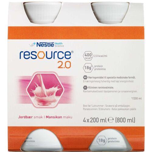Køb Resource 2.0 Jordbær 4 x 200 ml online hos apotekeren.dk
