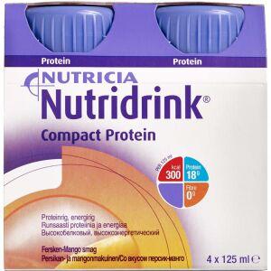 Køb Nutridrink Compact Protein Fersken-mango 4 x 125 ml online hos apotekeren.dk
