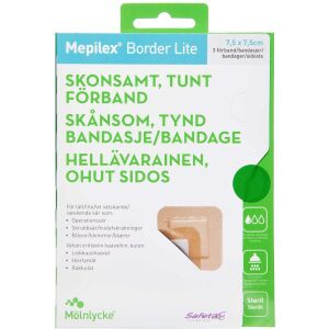 Køb Mepilex Border Lite 7,5x7,5 cm 3 stk. online hos apotekeren.dk