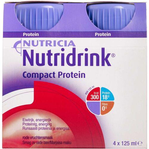 Køb Nutridrink Compact Protein Røde bær 4 x 125 ml online hos apotekeren.dk