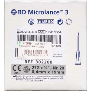 "Køb Microlance 3 kanyler 27G3/4-0,4x19mm ""Grå"" 100 stk. online hos apotekeren.dk"