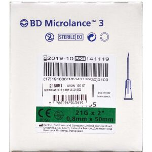 "Køb Microlance 3 kanyle 21Gx2"" Grøn 100 stk. online hos apotekeren.dk"