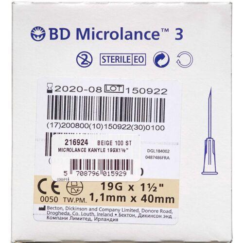 Køb Microlance Kanyle 19Gx1½ Beige 100 stk. online hos apotekeren.dk